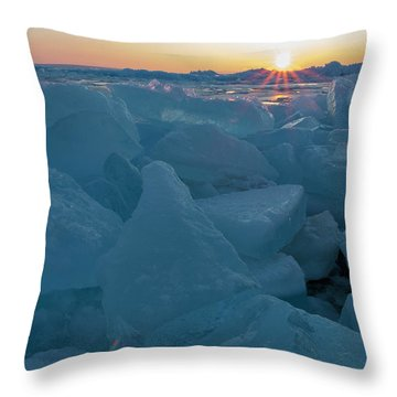 Throw Pillow featuring the photograph Mackinaw City Ice Formations 21618014 by Rick Veldman