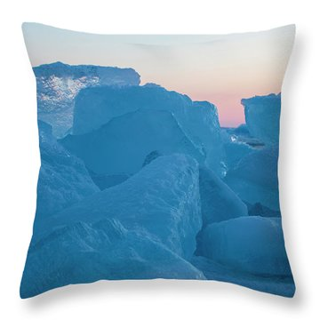 Throw Pillow featuring the photograph Mackinaw City Ice Formations 2161804 by Rick Veldman