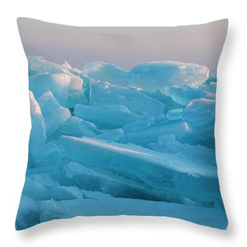 Throw Pillow featuring the photograph Mackinaw City Ice Formations 2161807 by Rick Veldman