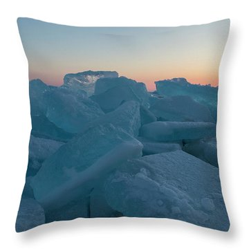 Throw Pillow featuring the photograph Mackinaw City Ice Formations 2161808 by Rick Veldman