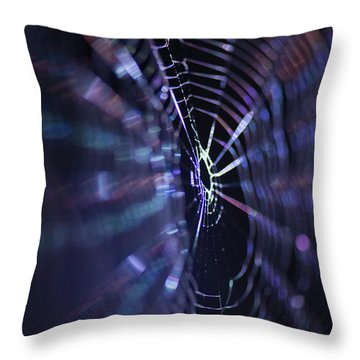 Macro Of A Spiders Web Captured At Night. Throw Pillow