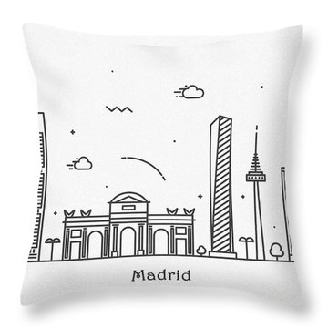 Madrid Cityscape Travel Poster Throw Pillow