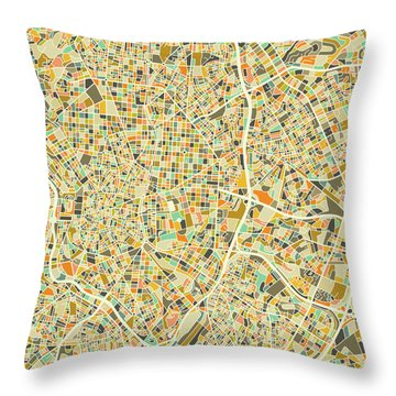 Madrid Map 1 Throw Pillow