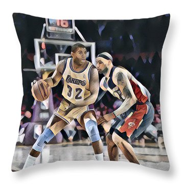 Magic Johnson Lakers Vs Lebron James Cavaliers Abstract Art 1 Throw Pillow