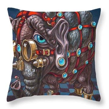 Magical Many-eyed Elephant Throw Pillow