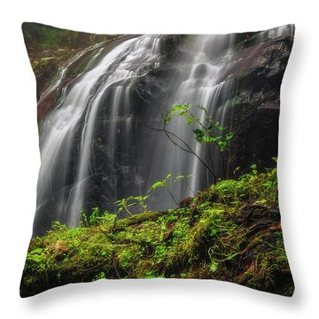 Magical Mystical Mossy Waterfall Throw Pillow