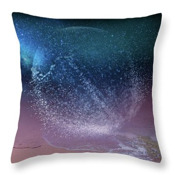 Magical Night Moment By The Seashore In Dreamland 3 Throw Pillow