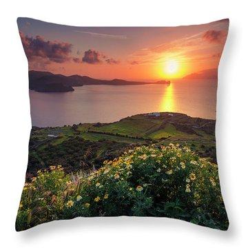 Magnificent Greek Sunset Throw Pillow
