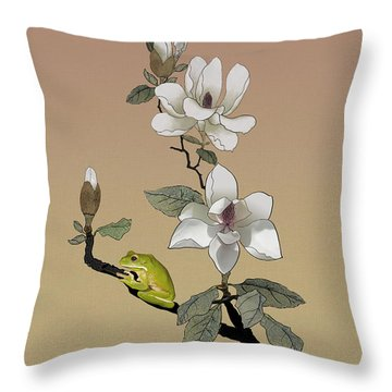 Magnolia And Tree Frog Throw Pillow