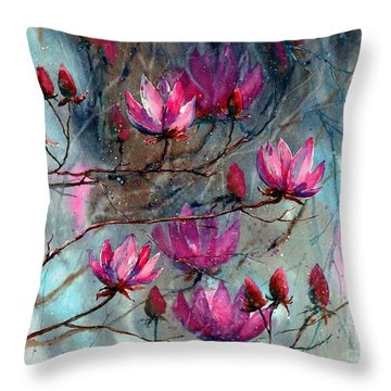 Magnolia At Midnight Throw Pillow