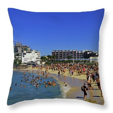 Throw Pillow featuring the photograph Maho Beach by Tony Murtagh