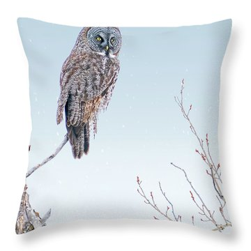Majestic Great Gray Owl Throw Pillow