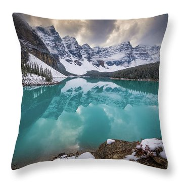 Majestic Moraine Lake Throw Pillow