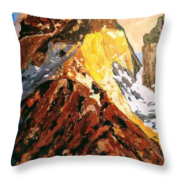 Throw Pillow featuring the painting Majestic Mountain by Ray Khalife