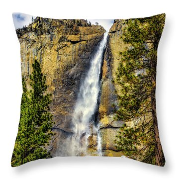 Majestic Upper Yosemite Fall Throw Pillow