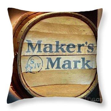 Makers Mark Barrel Throw Pillow