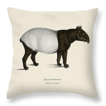 Malayan Tapir  Equus Montanus  Illustrated By Charles Dessalines D' Orbigny  1806-1876  2 Throw Pillow