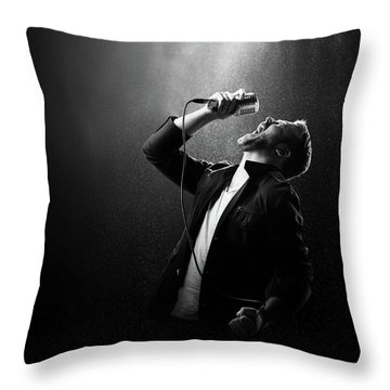Male Singer Performing Throw Pillow