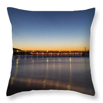 Malibu Pier At Sunrise Throw Pillow