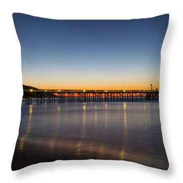 Malibu Pier At Sunrise Throw Pillow