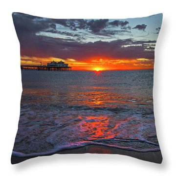 Malibu Pier Sunrise Throw Pillow