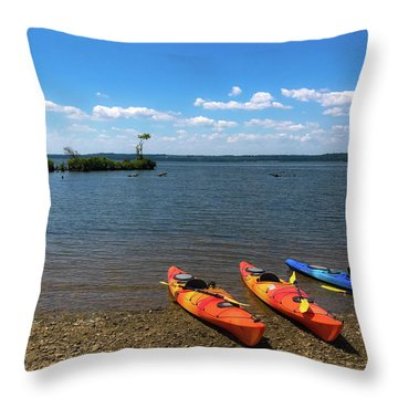 Throw Pillow featuring the photograph Mallows Bay And Kayaks by Lora J Wilson