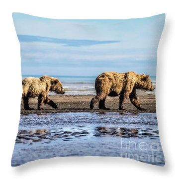 Mama Bear And Her Two Cubs On The Beach. Throw Pillow