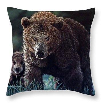 Mama Brown With Cubs Throw Pillow