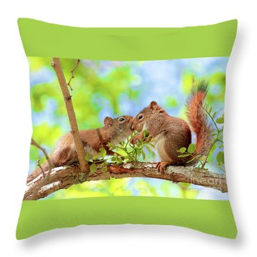 Mama Red Kissing Baby Throw Pillow