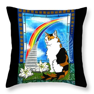 Mama Turtle - Cat Painting Throw Pillow