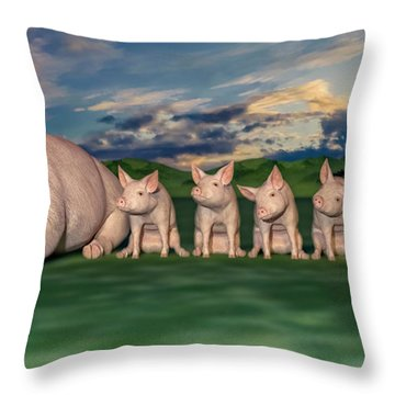 Mamma And Her Little Clones Throw Pillow