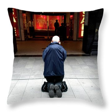 Throw Pillow featuring the photograph Man, Begging by Edward Lee