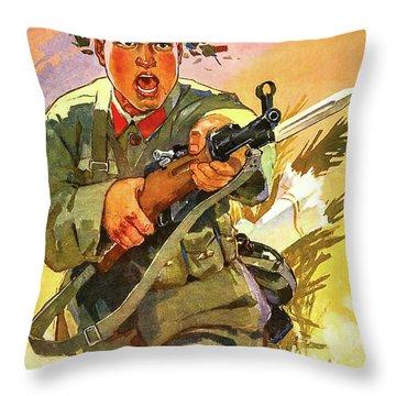 Man In Battle Throw Pillow