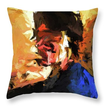 Man In The Cobalt Blue Shirt Throw Pillow
