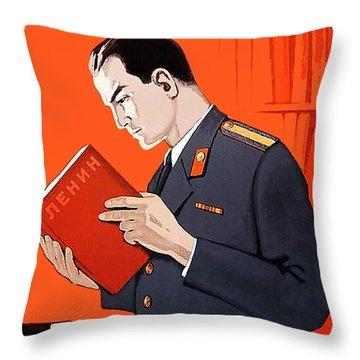 Man Is Reading Lenin Books Throw Pillow