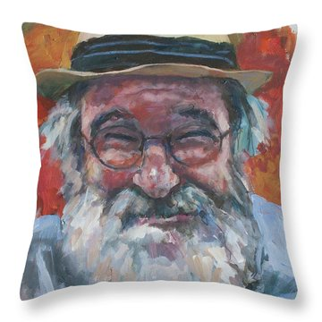 Man With Yellow Hat Throw Pillow