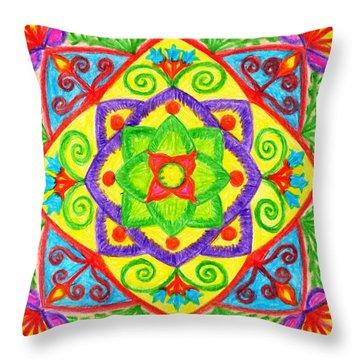 Throw Pillow featuring the drawing Mandala 1 by Dobrotsvet Art