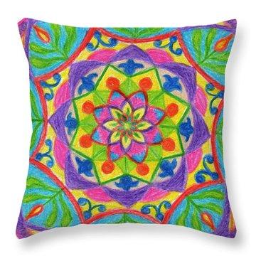 Throw Pillow featuring the drawing Mandala 2 by Dobrotsvet Art