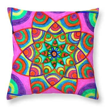 Throw Pillow featuring the drawing Mandala 3 by Dobrotsvet Art