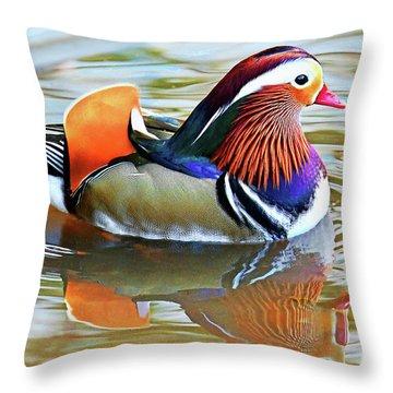 Mandarin Duck-central Park 11 Throw Pillow