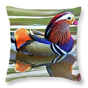 Mandarin Duck- Central Park 7 Throw Pillow