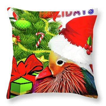 Mandy Mandarin Duck Holiday Greeting Throw Pillow