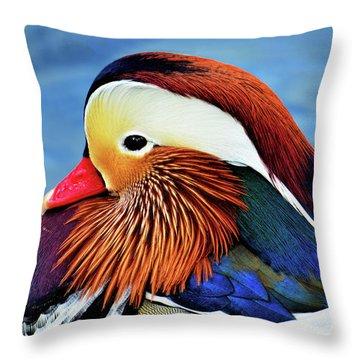 Mandarin Duck Portrait 2 Throw Pillow