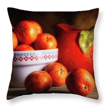 Mandarin Oranges And Orange Shaped Pitcher Throw Pillow