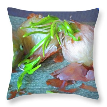 Throw Pillow featuring the mixed media Mango And Two Onions by Lynda Lehmann