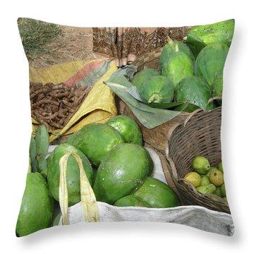 Mangos, Turmeric And Green Bananas  Throw Pillow