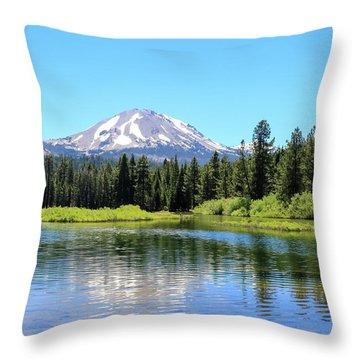 Manzanita Lake Reflection 1 Throw Pillow