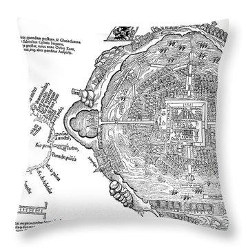 Map Of Aztec Capital Tenochtitlan Throw Pillow