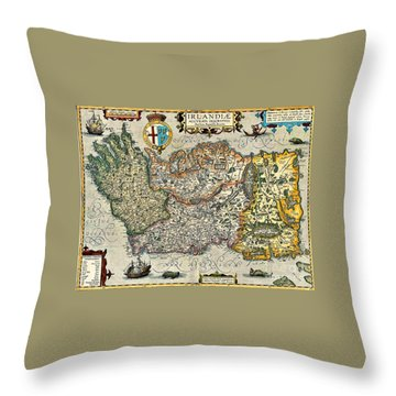 Throw Pillow featuring the painting Map Of Ireland By Boazio by Val Byrne