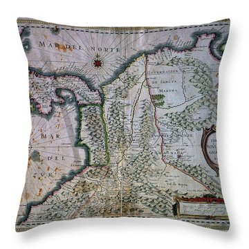 Map Of The Kingdom Of New Granada And Popayan - 1653. Throw Pillow